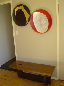 Japanese Bench with Artistic Wall Plates 225